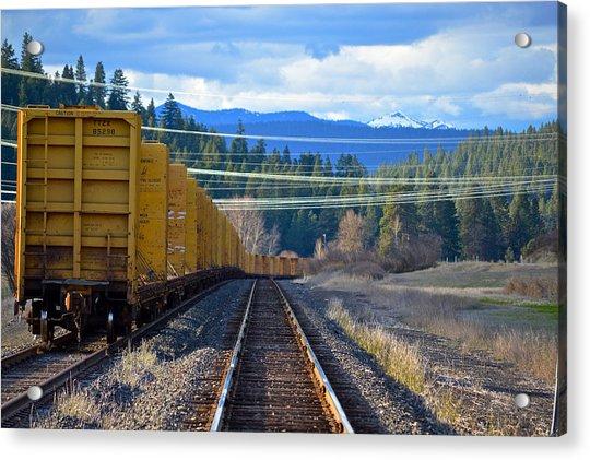 Yellow Train To The Mountains Acrylic Print