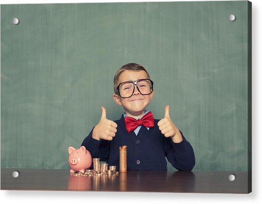 Young Boy Nerd Saves Money In His Piggy Bank Acrylic Print by RichVintage