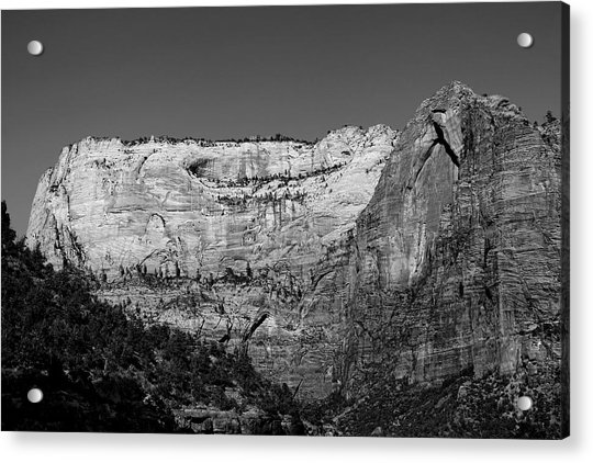 Acrylic Print featuring the photograph Zion Cliff And Arch B W by Jemmy Archer