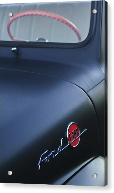 1953 Ford F-100 Pickup Truck Steering Wheel And Emblem Acrylic Print