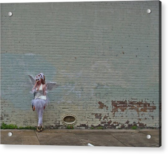 Angel With A Cell Phone On Mardi Gras Day In New Orleans Acrylic Print