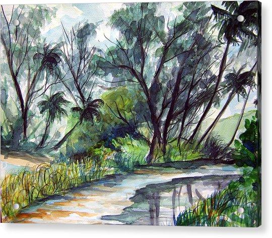 Casuarinas And Palms Acrylic Print by Jon Shepodd