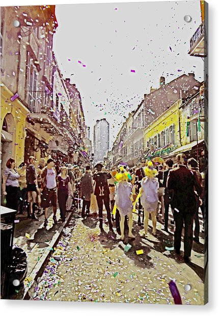 Confetti Sky On Mardi Gras Day In New Orleans Acrylic Print
