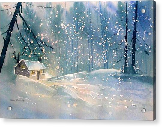 Cottage In The Snow Acrylic Print