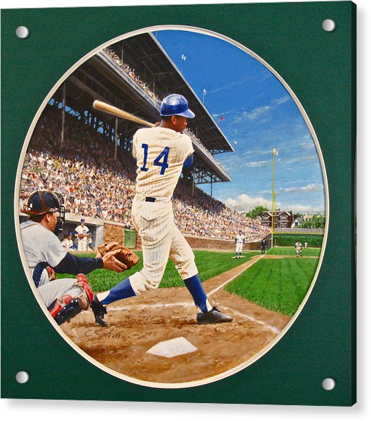 Acrylic Print featuring the painting Ernie Banks by Cliff Spohn