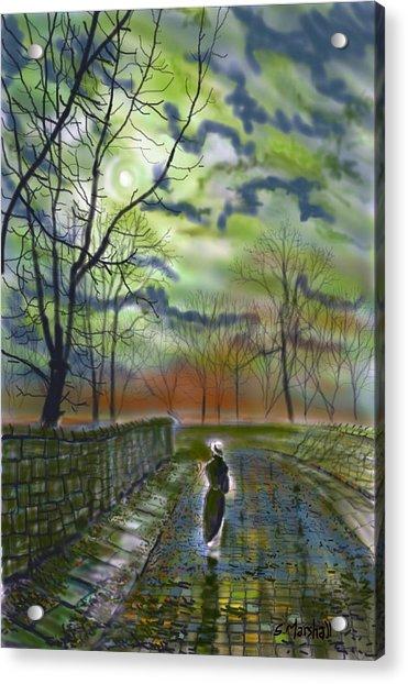 Girl By Moonlight Acrylic Print