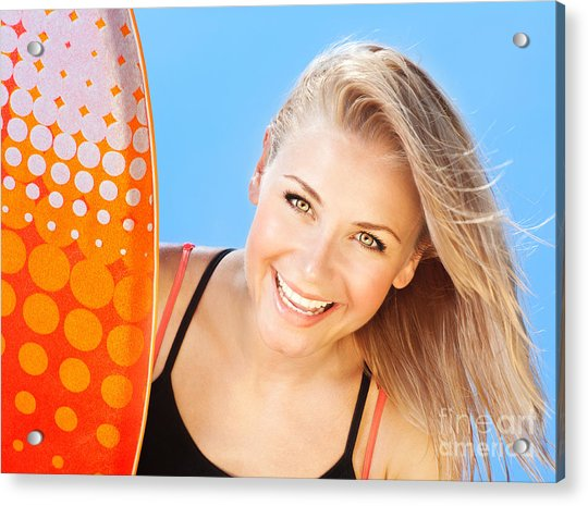 Happy Young Surfer Portrait Acrylic Print