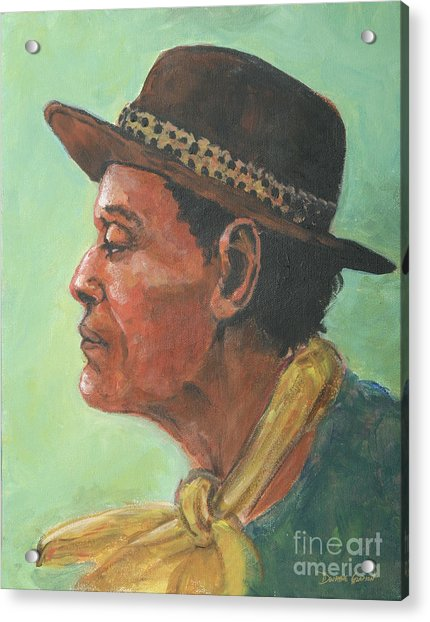Acrylic Print featuring the painting Hat And Yellow Scarf by Dwayne Glapion