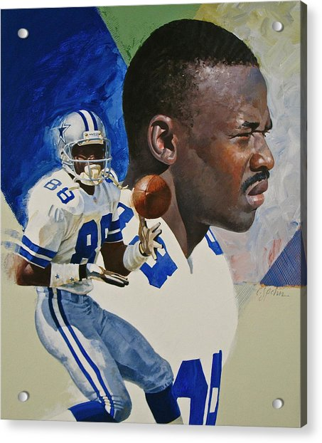 Acrylic Print featuring the painting Michael Irvin by Cliff Spohn