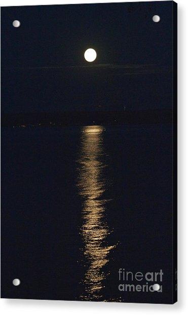 Moon Over Seneca Lake Acrylic Print