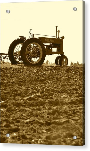 Old Tractor I In Sepia Acrylic Print
