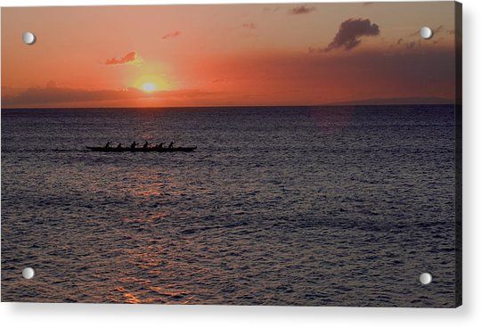 Outrigger Sunset Acrylic Print by Tony and Kristi Middleton
