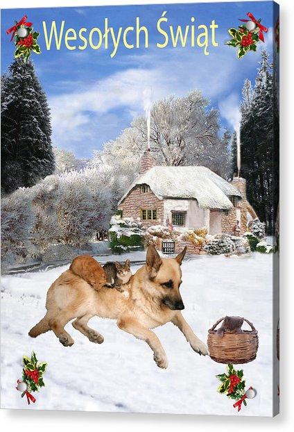 Polish German Shepherd Holiday Acrylic Print