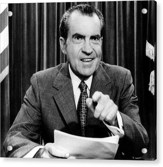 Richard Nixon In Color: President Richard Nixon, Announces Photograph By Everett