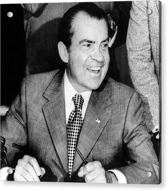 Richard Nixon In Color: President Richard Nixon Smiles Photograph By Everett