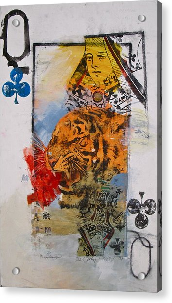 Acrylic Print featuring the painting Queen Of Clubs 4-52  2nd Series  by Cliff Spohn