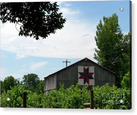 Quilted Barn And Vineyard Acrylic Print