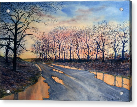 Red Sky On The Road From Sledmere Acrylic Print
