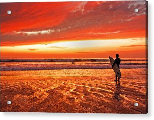 Sensational Sunset Surf Acrylic Print by Donna Pagakis