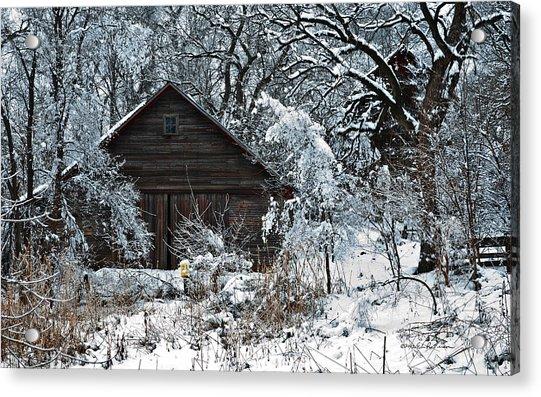 Snow Covered Barn Acrylic Print