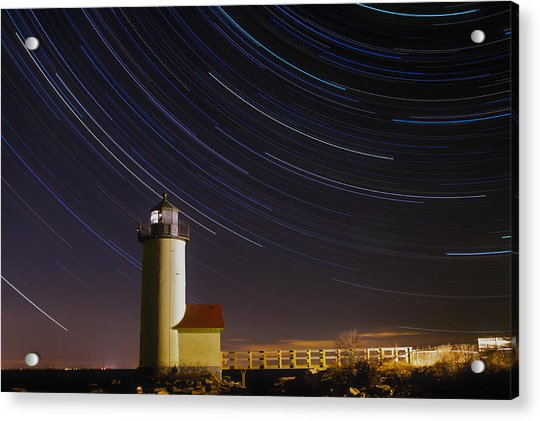 Star-trails Over Annisquam Lighthouse Acrylic Print