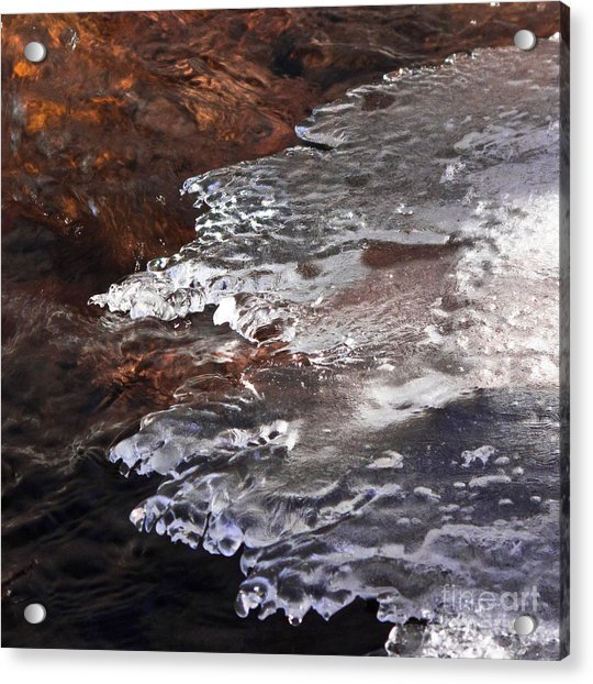 Stream Edge Ice Acrylic Print