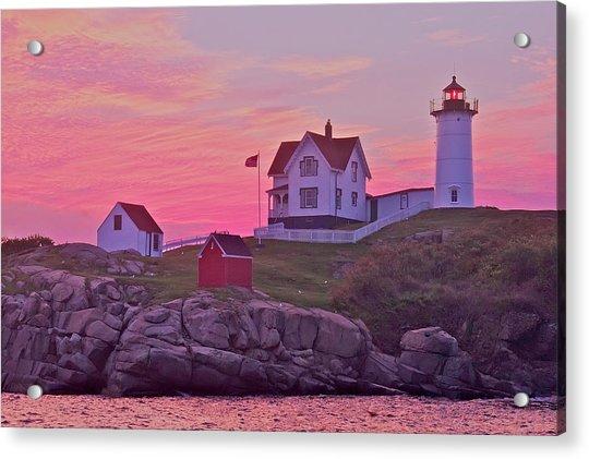 Sunrise Nubble Lighthouse Acrylic Print