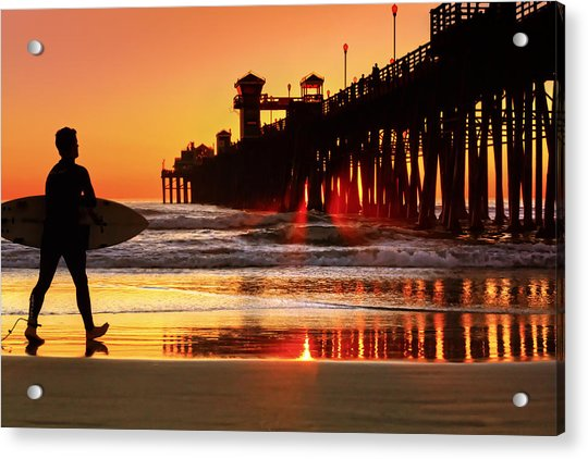 Surf Session At Sunset Acrylic Print by Donna Pagakis