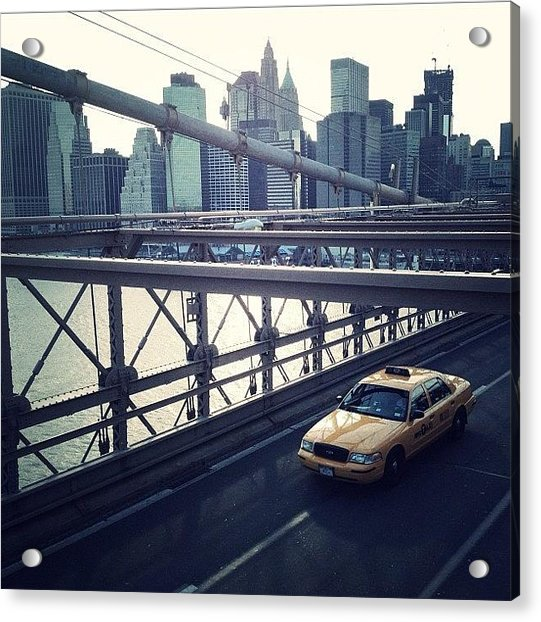 Taxi On Bridge Acrylic Print