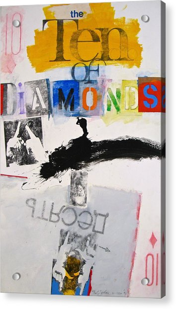 Acrylic Print featuring the painting Ten Of Diamonds 24-52 by Cliff Spohn