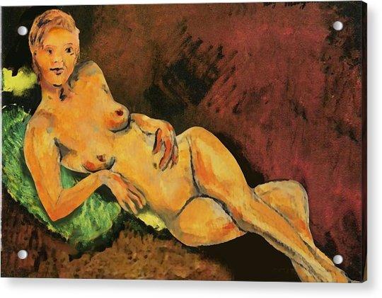 Traditional Modern Female Nude Reclining Acrylic Print