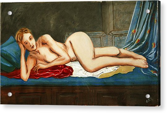 Traditional Modern Female Nude Reclining Odalisque After Ingres Acrylic Print