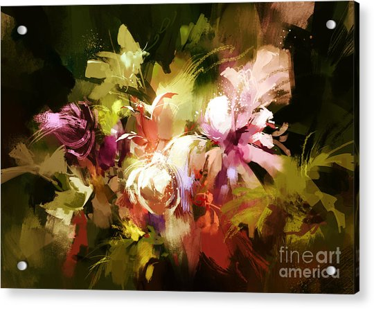 Acrylic Print featuring the painting Abstract Flowers by Tithi Luadthong