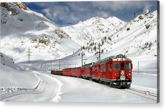 Bernina Winter Express Acrylic Print