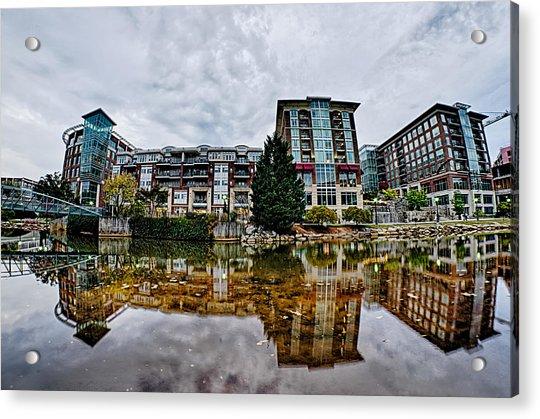 Downtown Of Greenville South Carolina Around Falls Park Acrylic Print