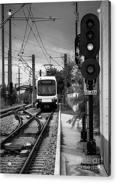 Electric Commuter Train In Bw Acrylic Print