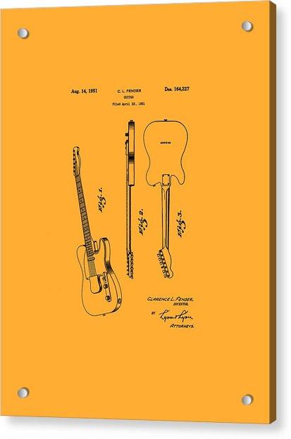 Fender 1951 Electric Guitar Patent Art - B  Acrylic Print