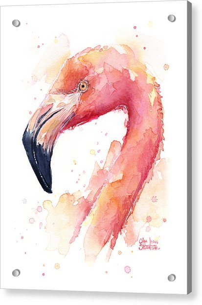 Flamingo Watercolor Acrylic Print