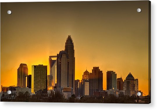 Golden Charlotte Skyline Acrylic Print