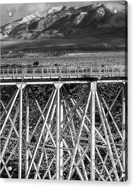 Gorge Bridge Black And White Acrylic Print
