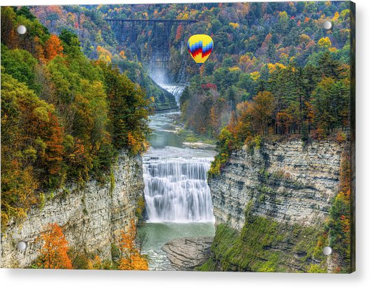 Hot Air Balloon Over The Middle Falls At Letchworth State Park Acrylic Print
