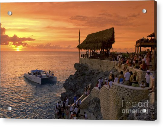 Acrylic Print featuring the photograph Jamaica Negril Ricks Cafe by Juergen Held