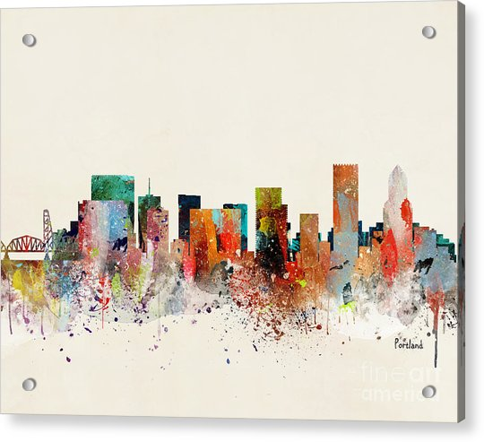 Portland Skyline Acrylic Print by Bri Buckley