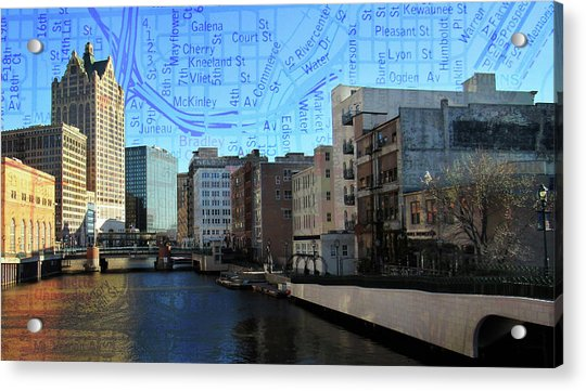 River View Theater District Tall W Map Acrylic Print