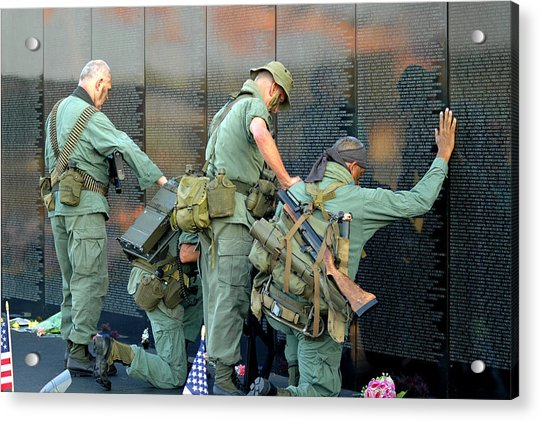 Acrylic Print featuring the photograph Veterans At Vietnam Wall by Carolyn Marshall