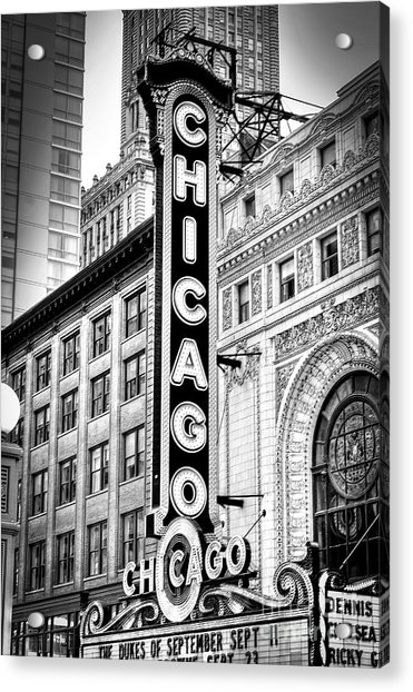 1077 Chicago Theater Black And White Acrylic Print