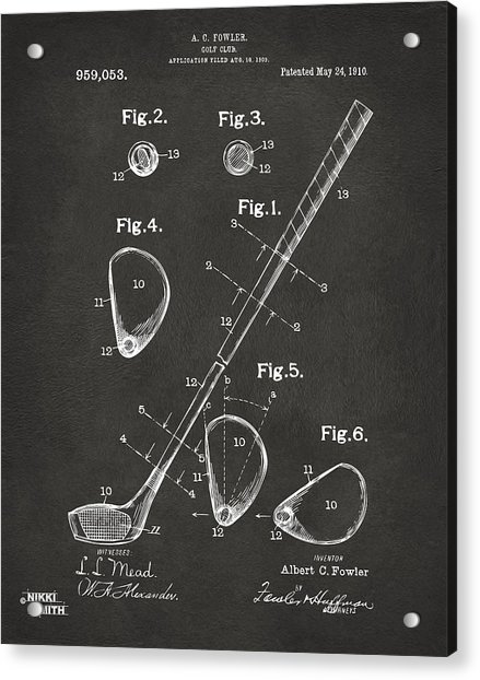 1910 Golf Club Patent Artwork - Gray Acrylic Print