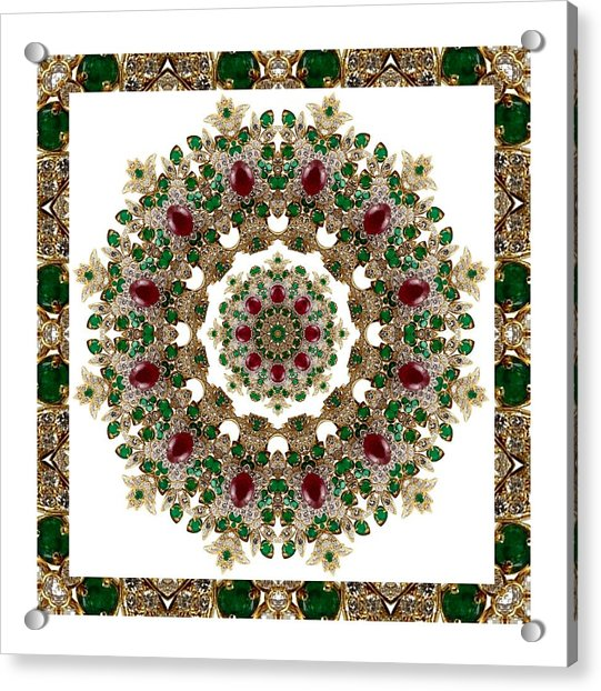Ruby And Emerald Kaleidoscope Acrylic Print