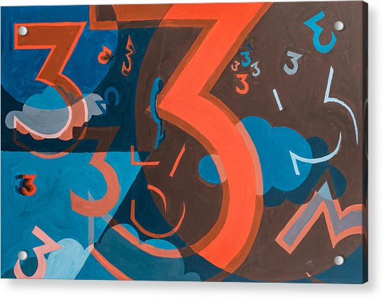 Acrylic Print featuring the painting 3 In Blue And Orange by Break The Silhouette