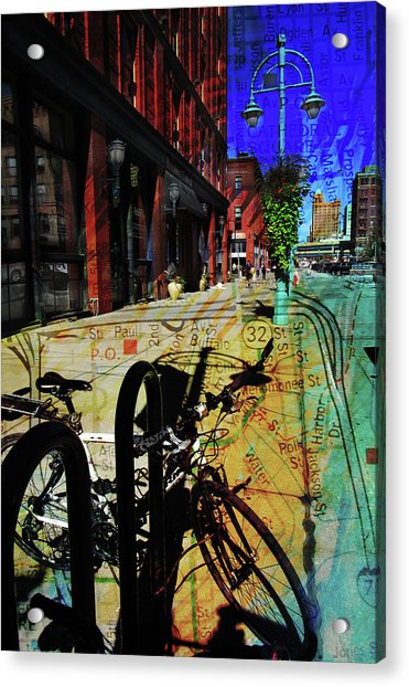 3rd Ward Bicycle Abstract Map Acrylic Print